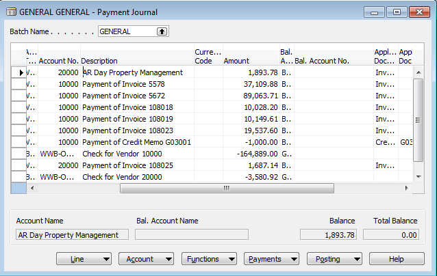 Payment Journal view after checks have printed correctly.