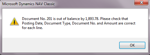 """""""Out of Balance"""" error posting Payment Journal"""